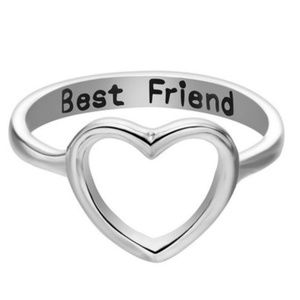 Silver Open Heart ♥️ Best Friend Engraved Ring